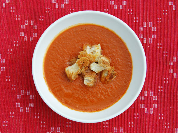 Brown Sugar-Roasted Tomato Soup with Cheddar Croutons from Serious Eats