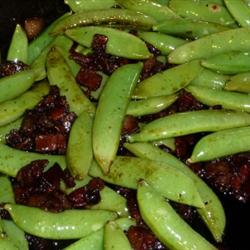 Bacon and Balsamic Glazed Sugar Snap Peas Thanks to Yummly