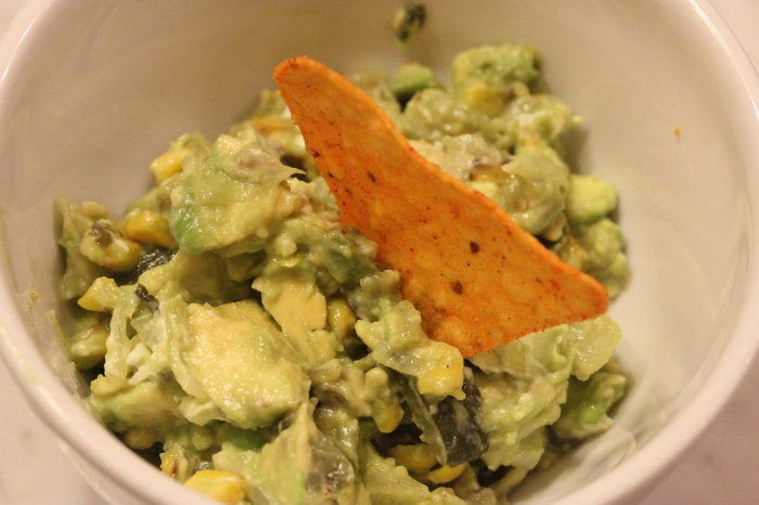 Grilled Corn and  Poblano Guacamole with Goat Cheese from Rick Bayless