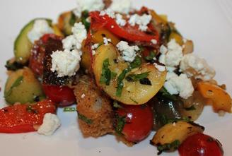 Zucchini, Tomato, Onion, Ricotta Salata and Bread Salad