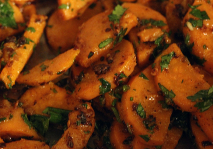 Sweet Potatoes with Garlic, Ginger, and Cilantro