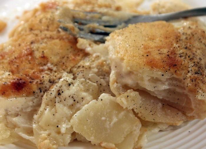 Potato, Cauliflower and Camembert Gratin