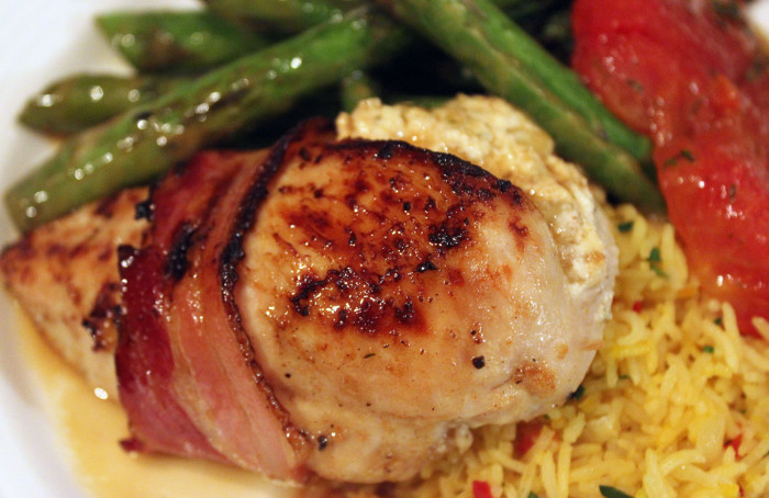 Bacon Wrapped Chicken Stuffed with Figs and Goat Cheese