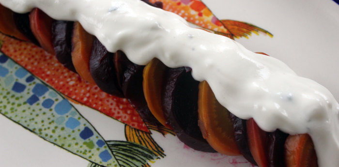 Thanksgiving Idea: Smoked Beets with Charred Pecans and Buttermilk-Goat Cheese Crema