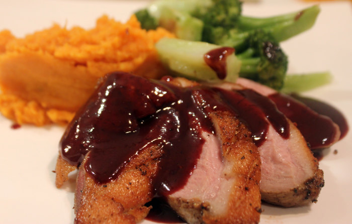 Grilled Duck Breast with Preserved Citrus Peel and Sweet Potato Puree