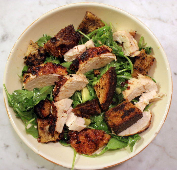 Roast Chicken with Bread & Arugula Salad from Make It Ahead by Ina Garten