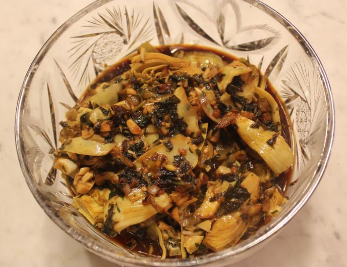 Artichokes in Cilantro and Pomegranate Sauce from Saveur, The New Classics Cookbook