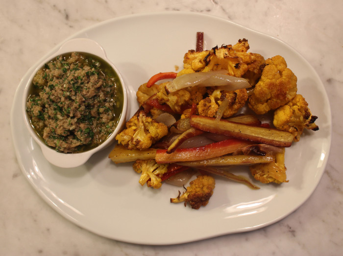 Roasted Romanesco and Carrots with Tarragon Bread Sauce from Curtis Stone