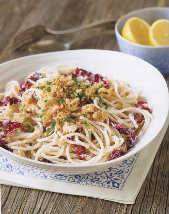 wc-Spaghetti-with-Radicchiio,-Ricotta,-and-Lemon-Garlic-Bread-Crumbs