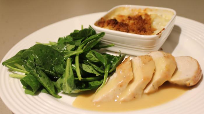 Pan-Crisped Chicken in Dijon Mustard Sauce with Cauliflower Gratin