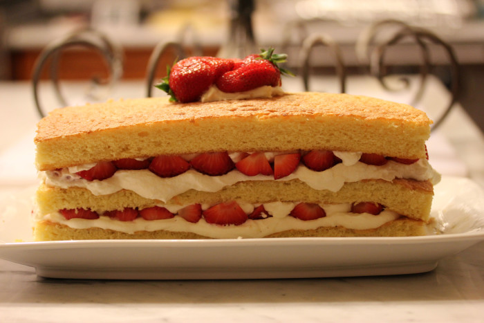 Strawberry and White Chocolate Buttermilk Cake from Sherry Yard for 4th of July