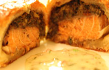 Wild Salmon in Puff Pastry with Savory Mushroom Stuffing