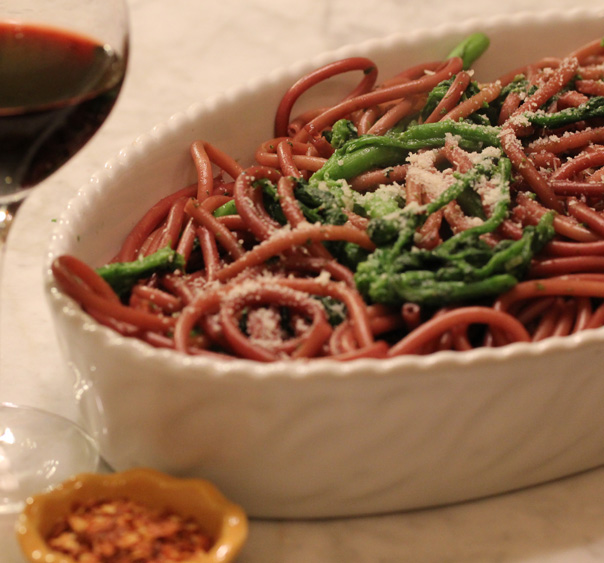 Zinfadel Spaghettini with Spicy Rapini