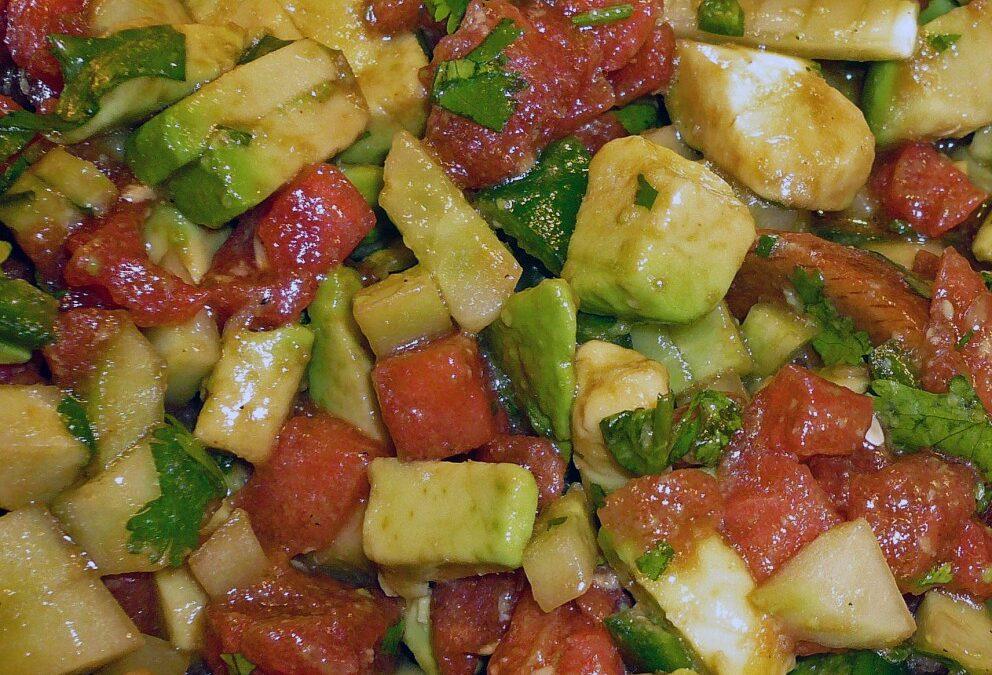 Watermelon, Cucumber and Avocado Salad