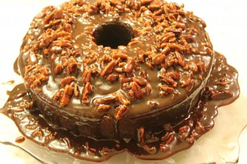Mexican Chocolate Fudge Pecan Cake