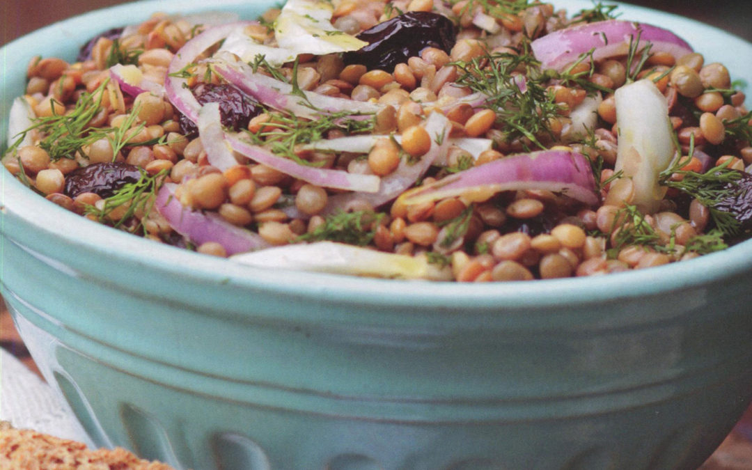Lentil Salad with Fennel, Onions, and Lots of Herbs from Ikaria by Diane Kochilas