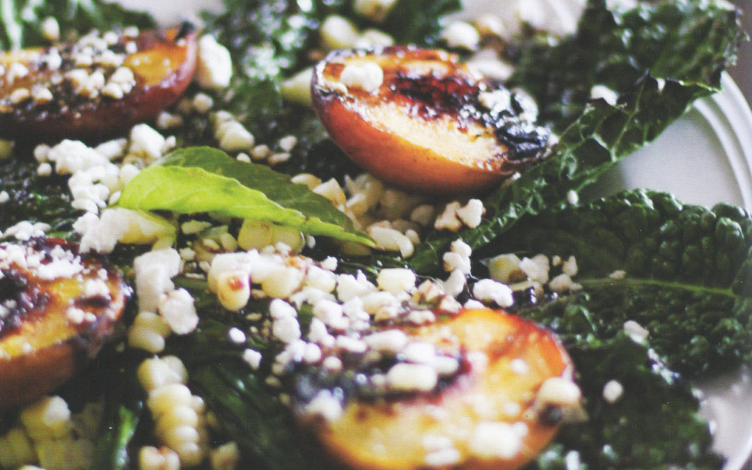 Grilled Kale, Peach, and Corn Salad with Basil Honey Balsamic Vinaigrette from Let Them Eat Kale! by Julia Mueller
