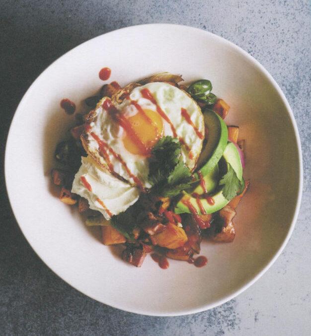 Chili Bacon & eggs with Sweet Potato Hash