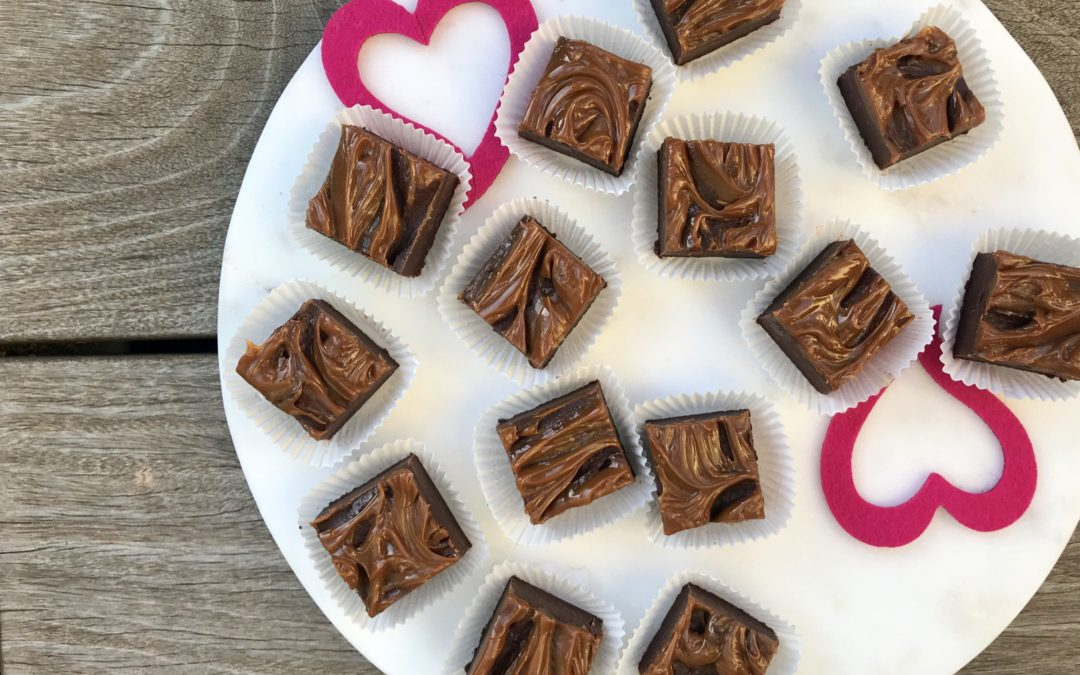 Fudge, Dulce De Leche Fudge, for Valentines Day from Simmer + Sauce