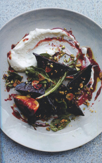 Tamarind-Glazed Beetroot with Baby Spinach, Salted Pistachios and Soya Labneh