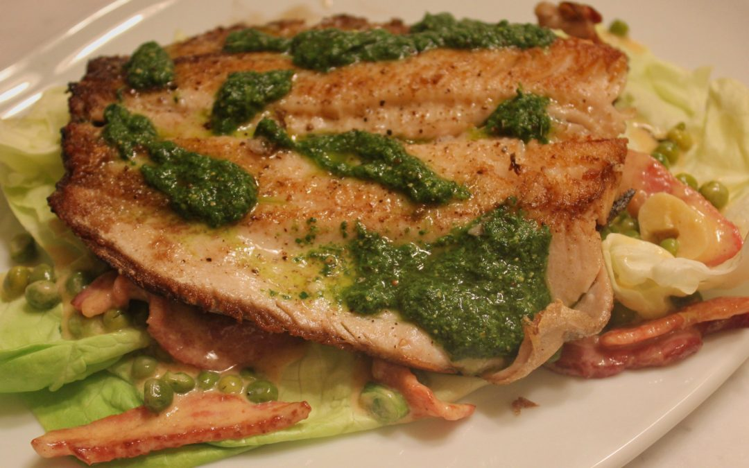 Trout with Bacon and Peas from The 2-Meal Day by Max Lowery