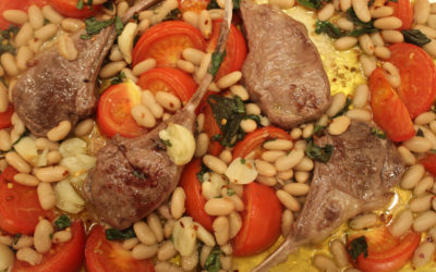 Marinated Lamb Chops with Garlicky Tomatoes and White Beans from Sheet Pan Cooking