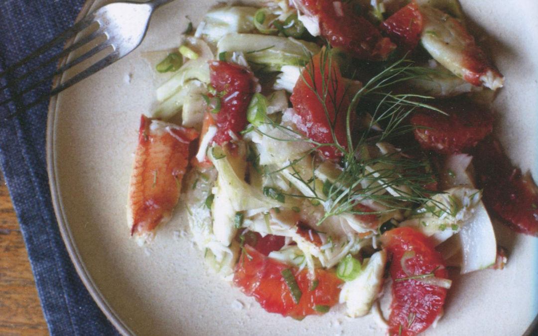 Shaved Fennel Salad with Crab and Blood Orange from Crab by Cynthia Nims