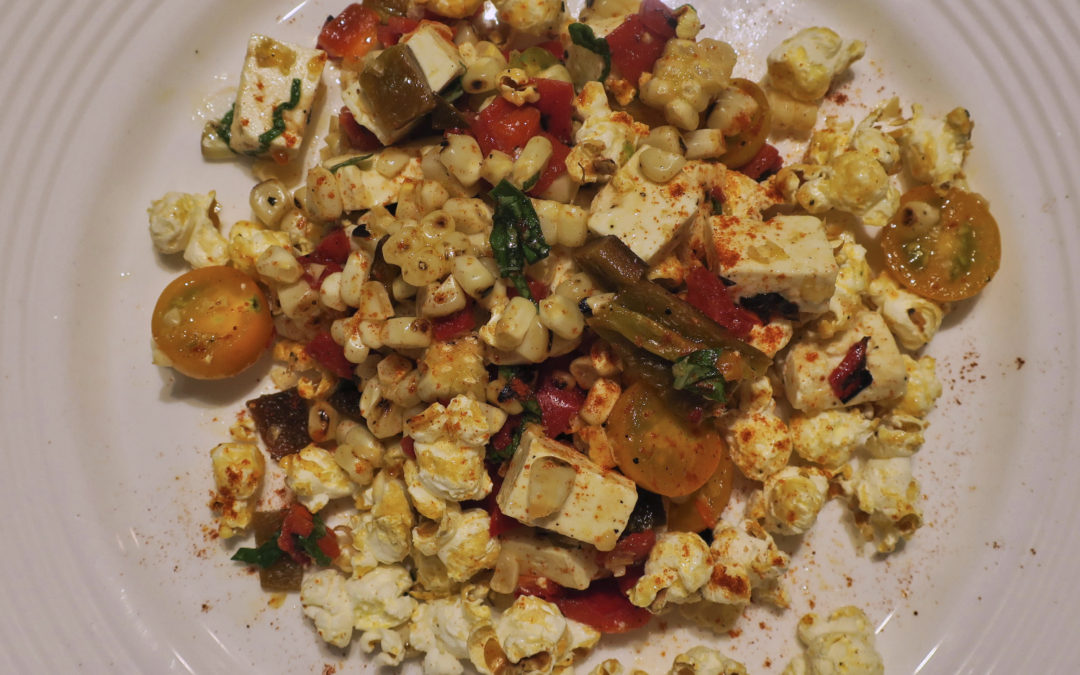 Grilled Corn Salad with Feta and Burnt Chili Dressing [and Popcorn!]