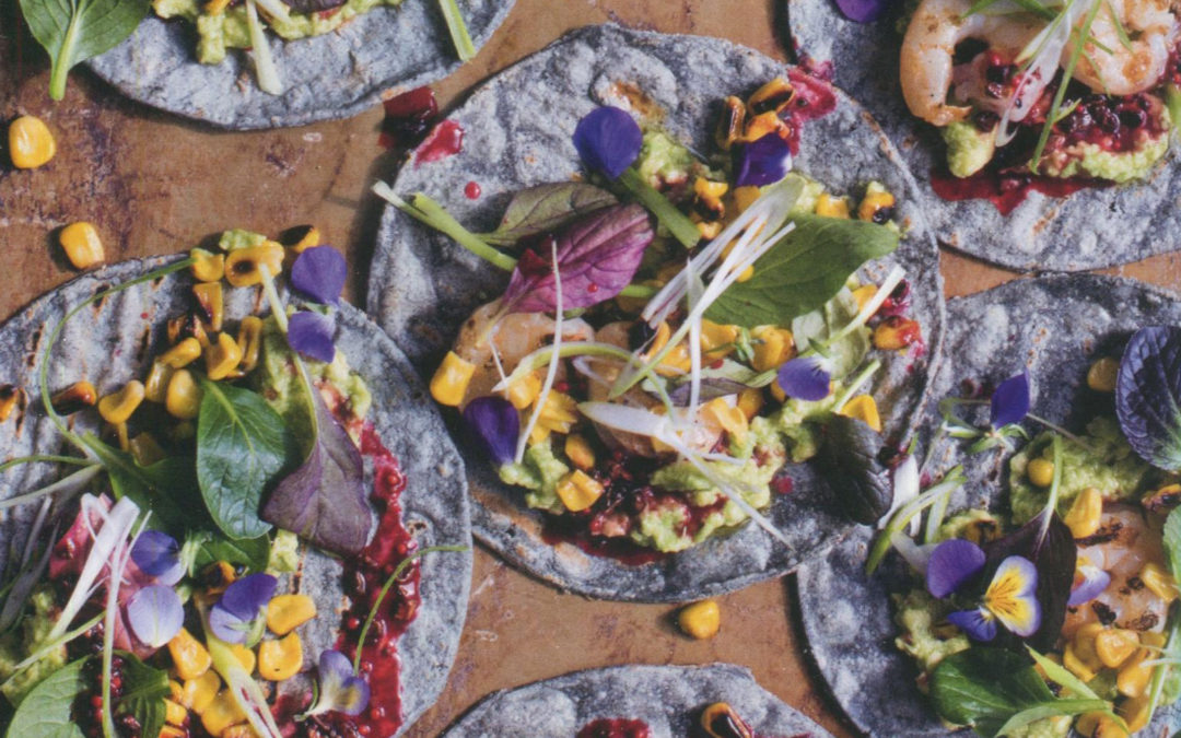 Avocado Shrimp Tortillas with Blood Orange Cacao Vinaigrette from The Cacao Cookbook