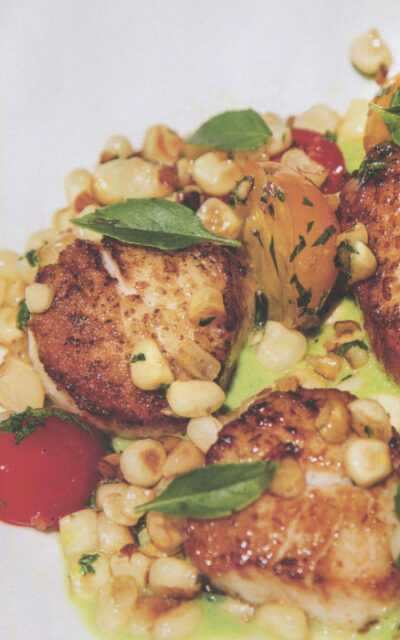 Scallops with Corn, Tomatoes and Pepper Sauce from The New Spanish