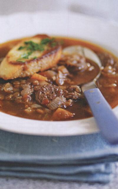 Venison, Red Wine and Lentil Soup
