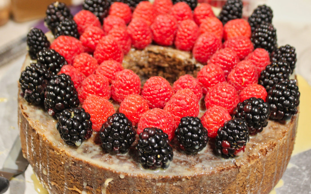 Chocolate Caramel Raspberry Bundt Cake from The European Cake Cookbook