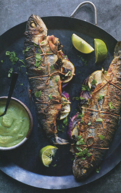 Trout with Avocado Sauce from Rustic Mexican by Deborah Schneider