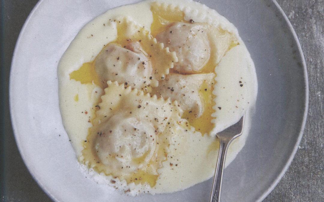 Ravioli Filled with Tomato and Bread Stuffing in a Warm Mozzarella Cream