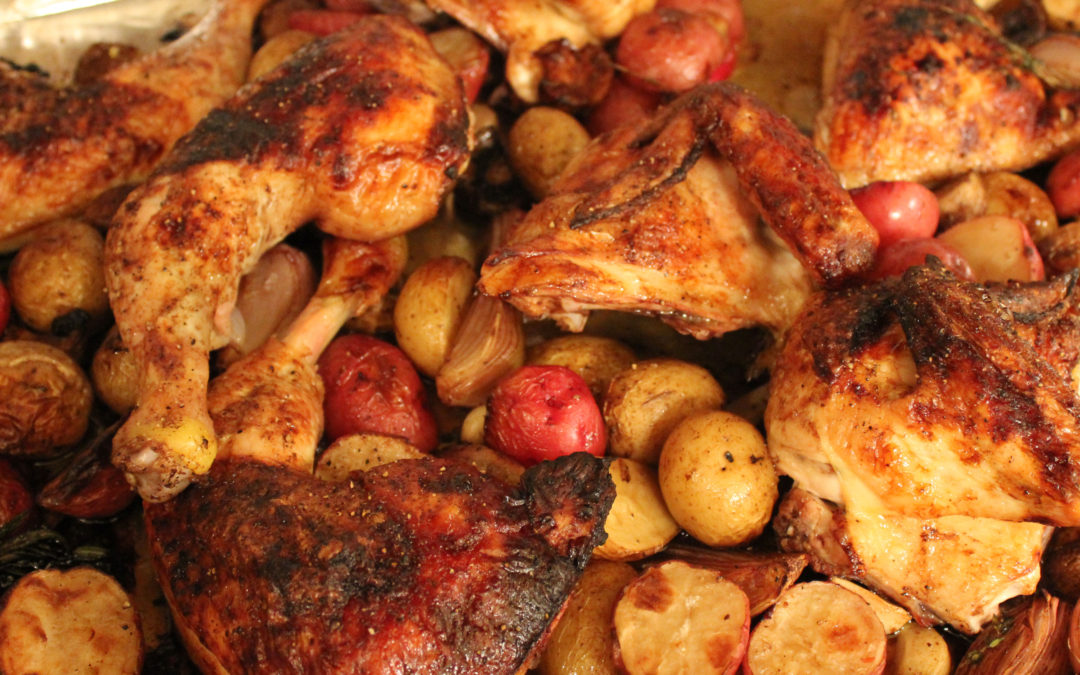 Sheet-Pan Supper: Balsamic Chicken with Baby Potatoes and Mushrooms from Everyday Dorie