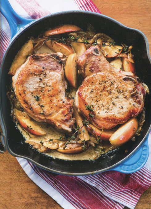 Pork Chops with Apples [and onion and cream] from In the French Kitchen with Kids