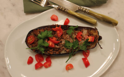 Stuffed Aubergine Boats from Honey & Co. At Home