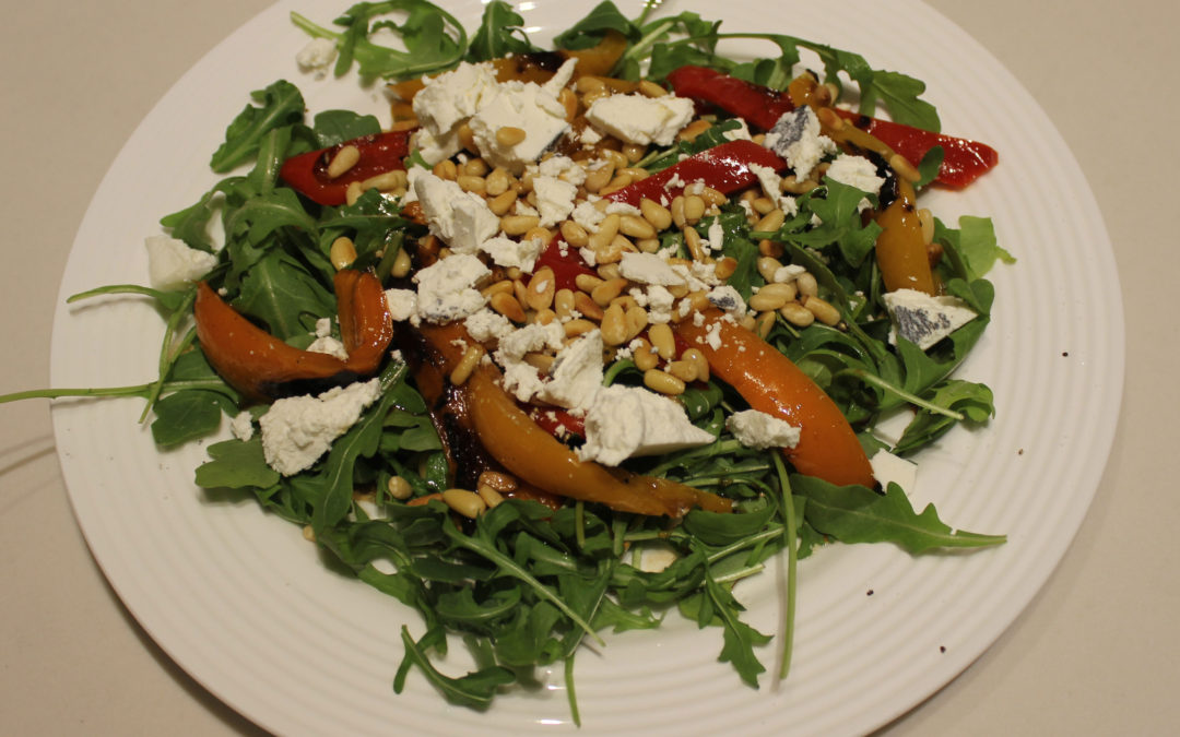 Roasted Bell Peppers with Goat Cheese and Pine Nuts from Tel Aviv by Jigal Krant